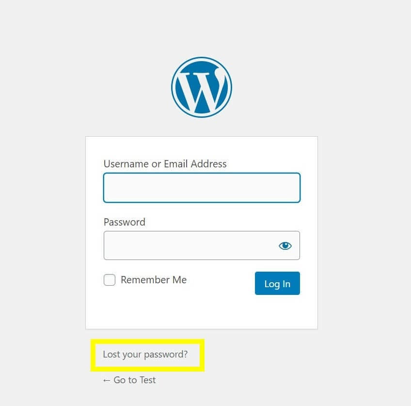 The password recovery option on a WordPress login page.