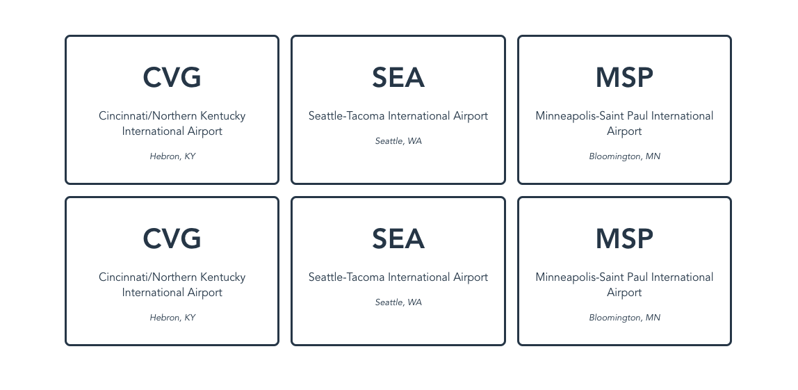 The US airport cards rendered twice in the browser.