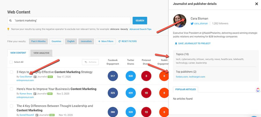 Buzzsumo search results showing a magnified view of journalist and their info.
