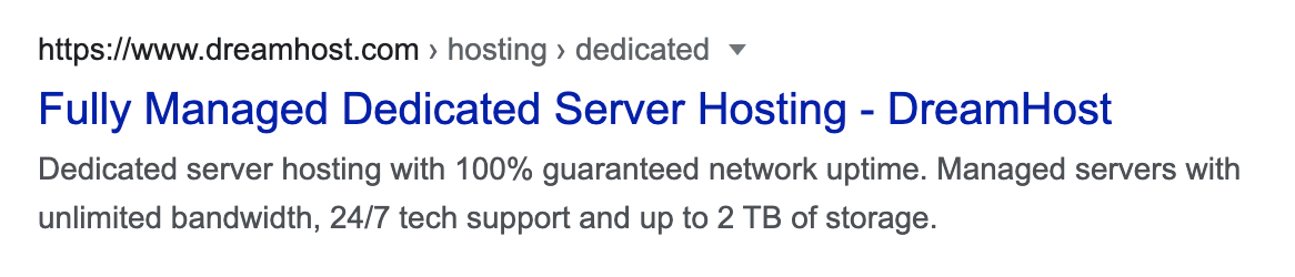 DreamHost meta description and title tag