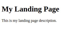 Screenshot showing custom landing page