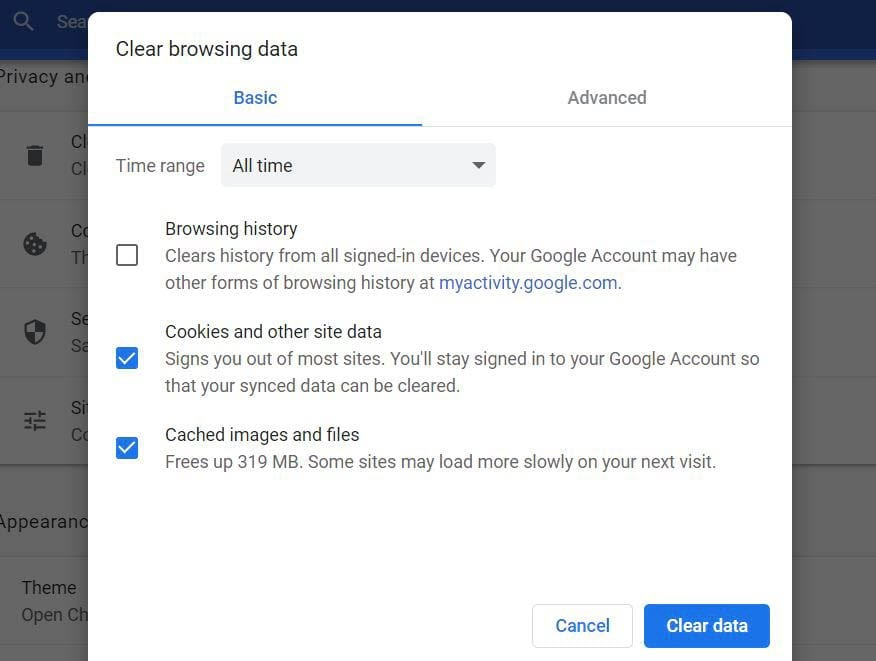 """""""Clearing your browsing data in Chrome."""""""
