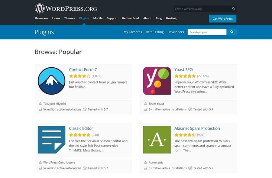 The WordPress.org plugin directory displaying popular options.