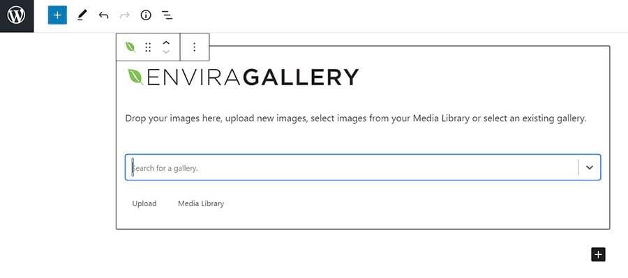 Adding an Envira Gallery in WordPress.