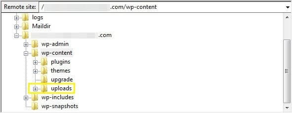 Accessing the WordPress uploads folder.