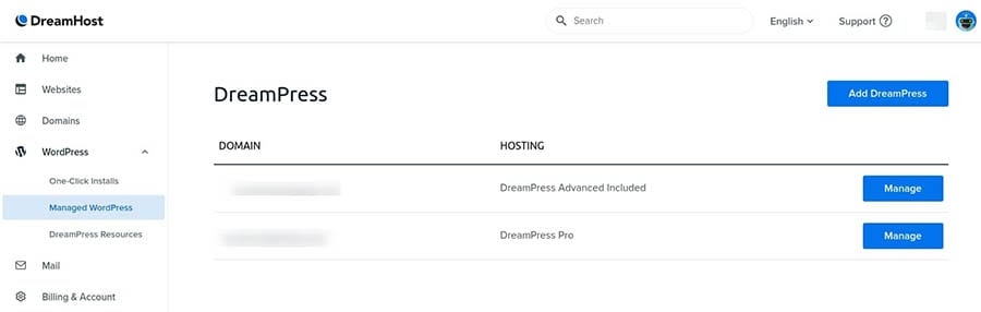 The DreamPress Manage screen.