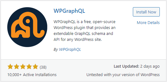 Screenshot of the WordPress plugin listing for WPGraphQL