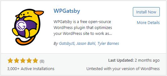 Screenshot of the WordPress plugin listing for WPGatsby