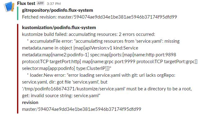 Slack - Flux reported failed deployment