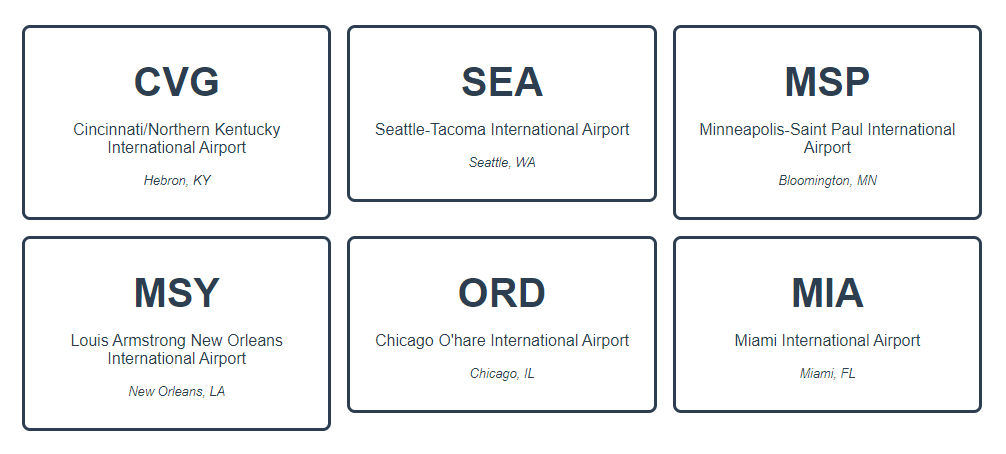 A view of the airport data rendered on cards, with the airport abbreviation, full name, and location rendered in black, sans-serif font.