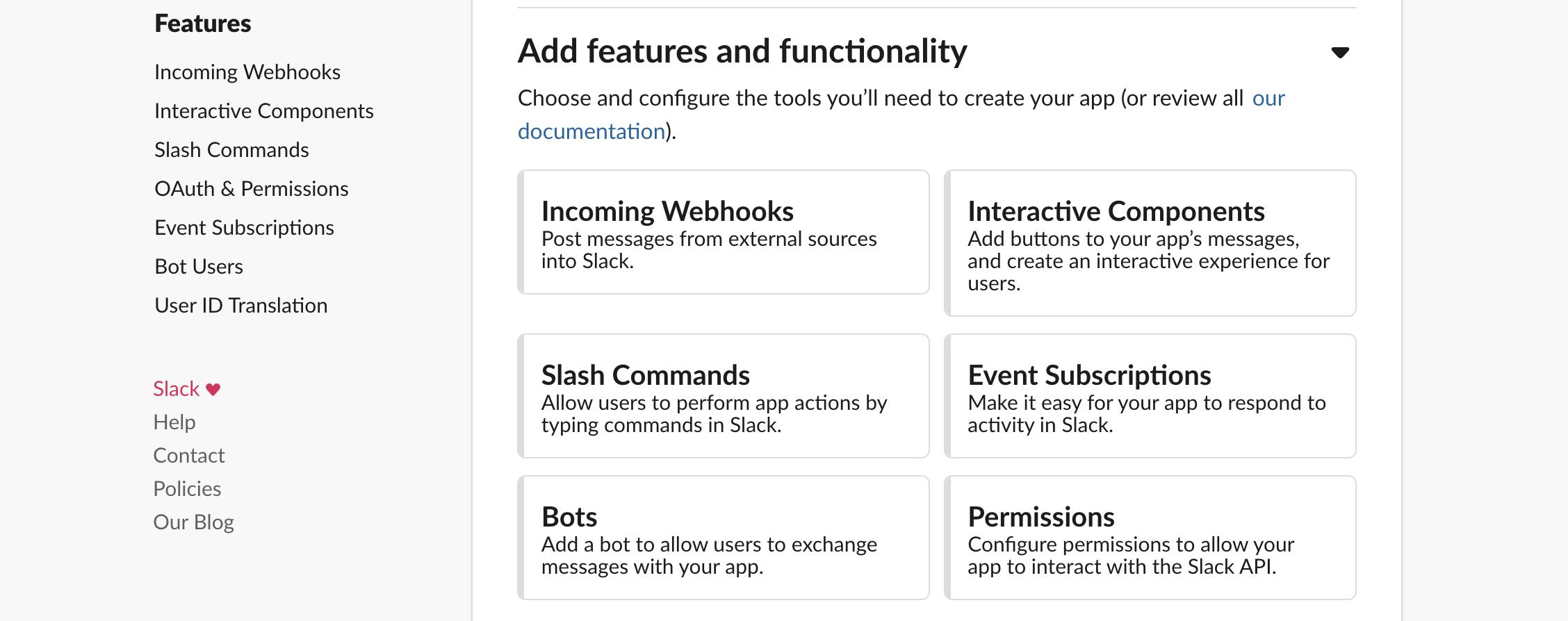 Slack app - Incoming Webhooks