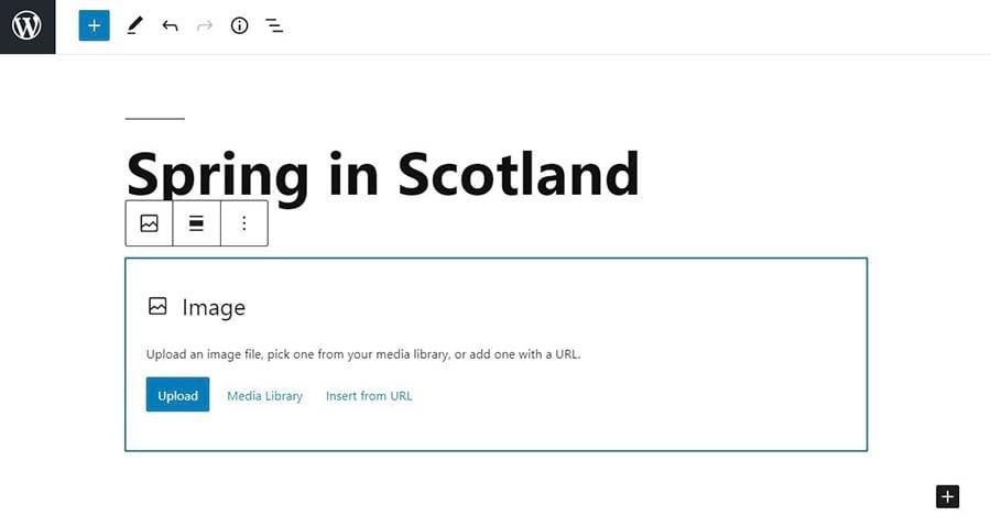 Uploading an image in WordPress.
