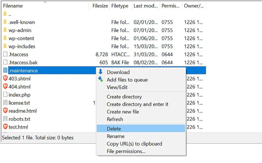 Deleting the .maintenance file in your site's directory