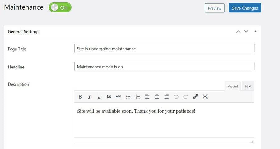 Customizing your maintenance mode notice using the Maintenance plugin