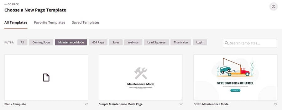 Selecting a template for the maintenance mode page in SeedProd