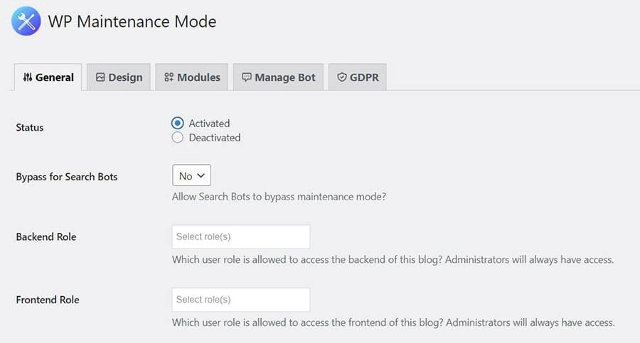 Activating the maintenance page using the WP Maintenance Mode plugin
