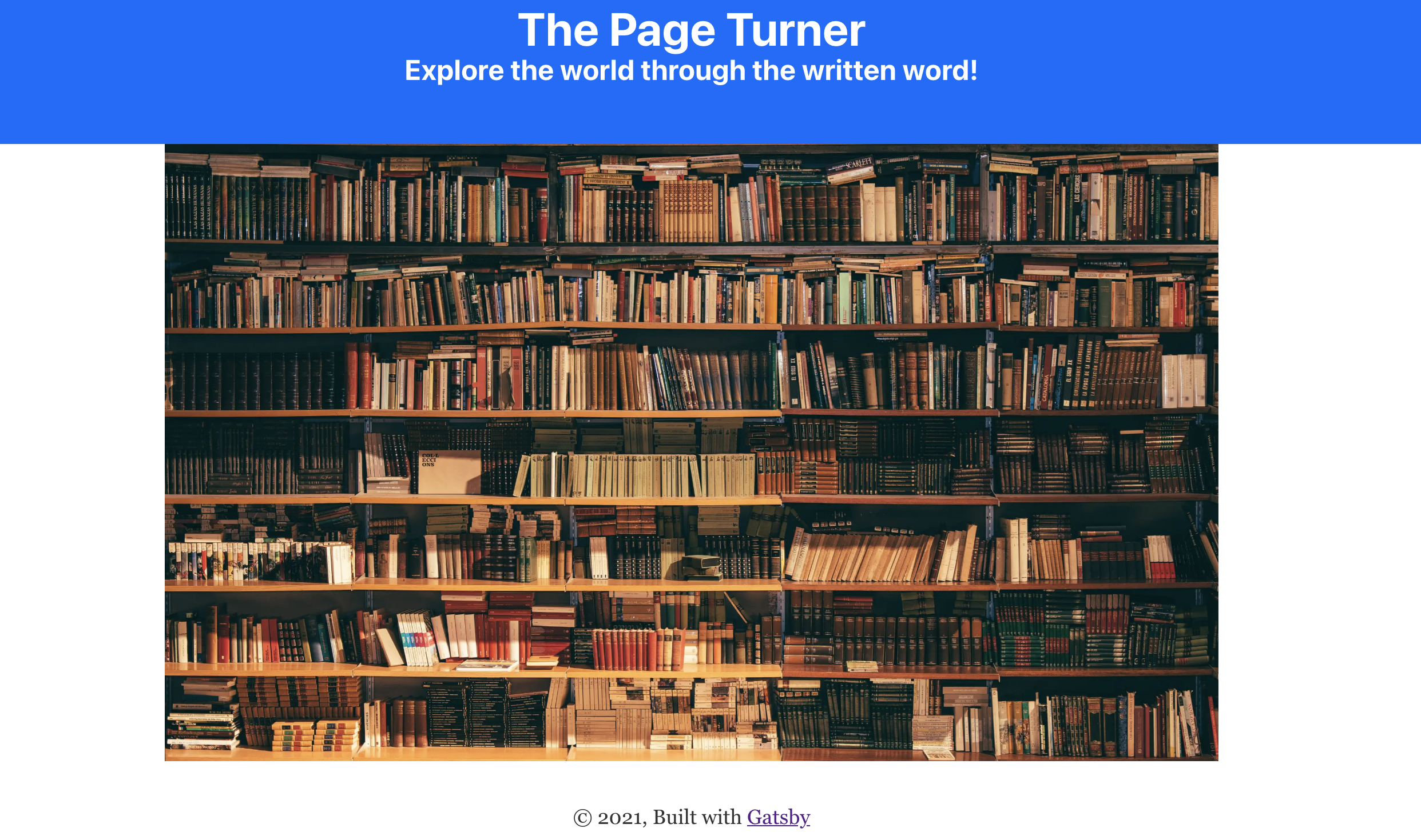 Rendered landing page with bookshelf image.