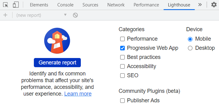Screenshot showing the Lighthouse tab in desktop Chrome DevTools, with only the Progressive Web App report category checked