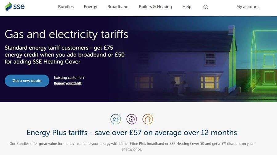 The SSE Energy home page.