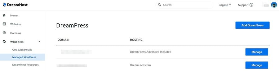 Accessing your domain in your DreamHost account.