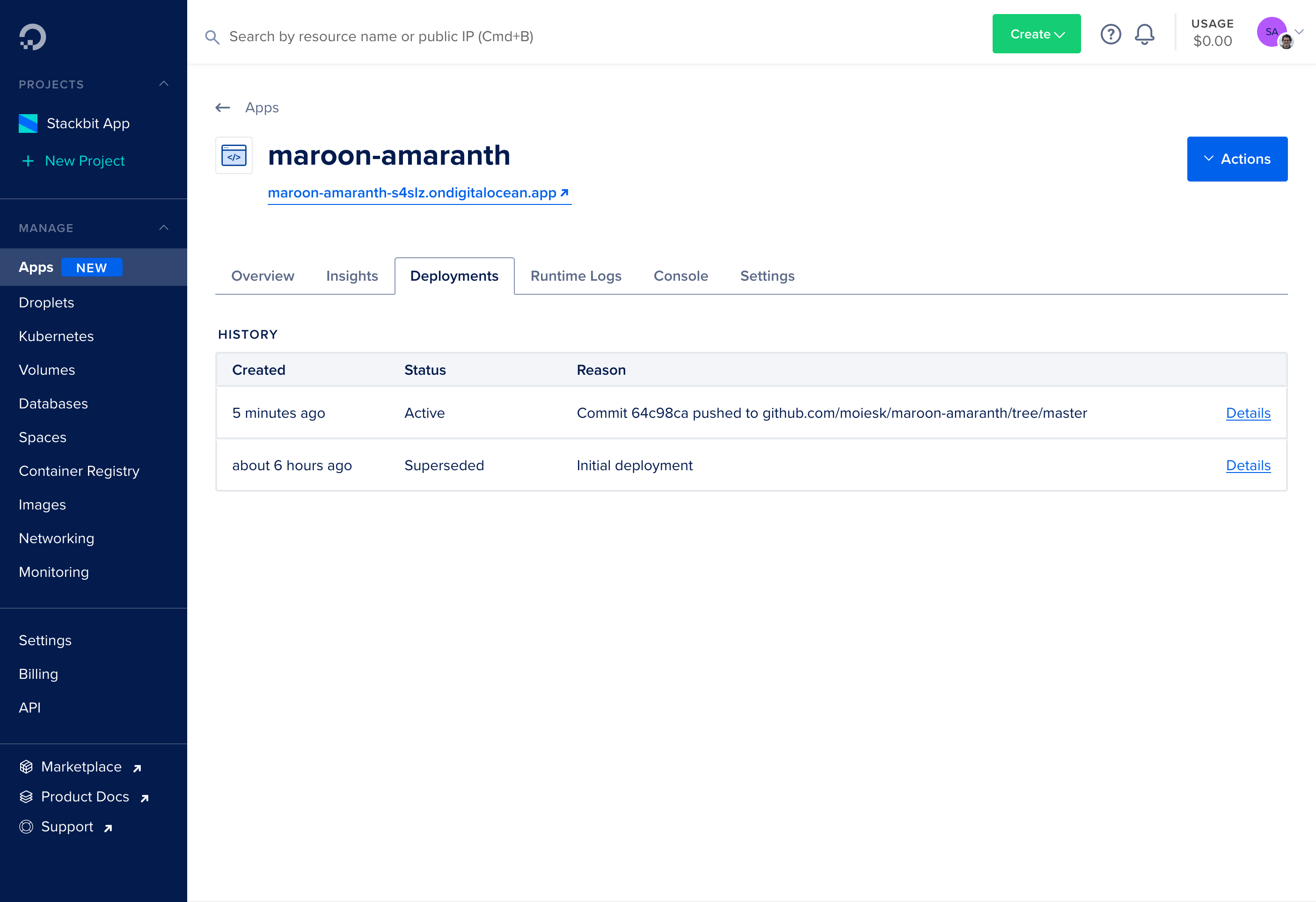 App Platform Deployments list