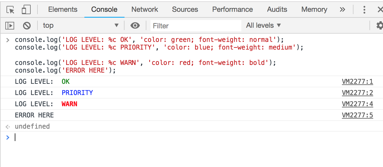 Screenshot of console output with OK in green, PRIORITY in blue, WARN in red.