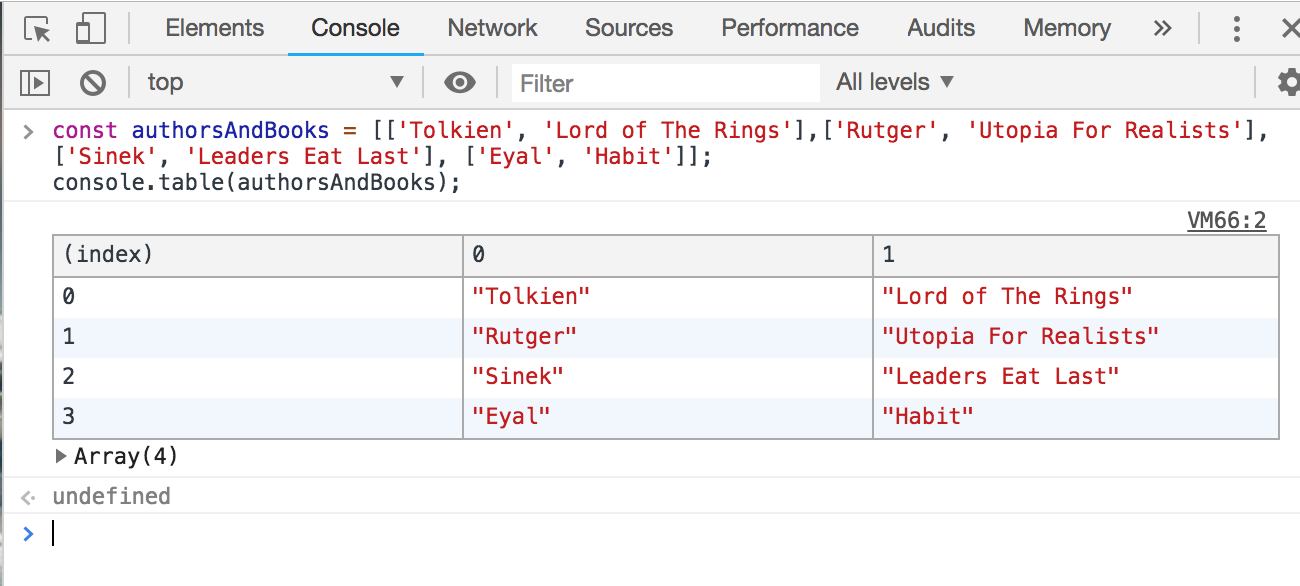 Screenshot of the authorsAndBooks array displayed in a table format.