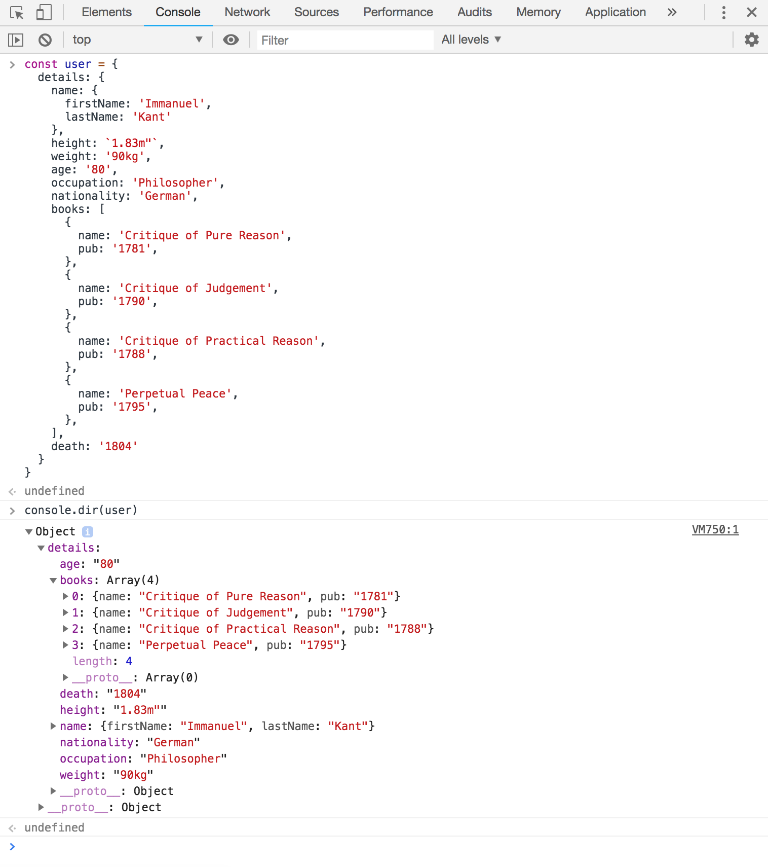 Screenshot of the user object displayed in a hierarchical dir format.