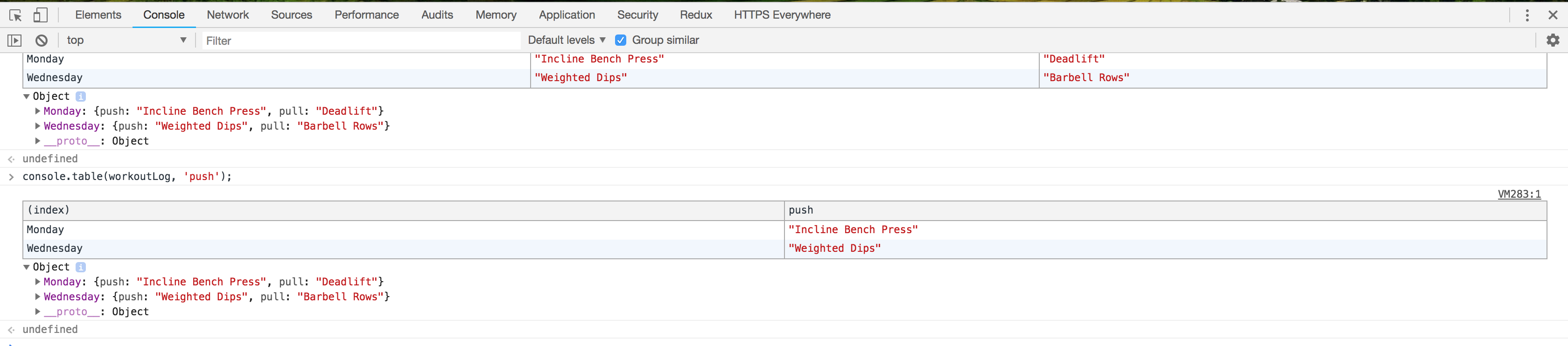Screenshot of the workoutLog object displayed in a table format but restricted to push exercises.