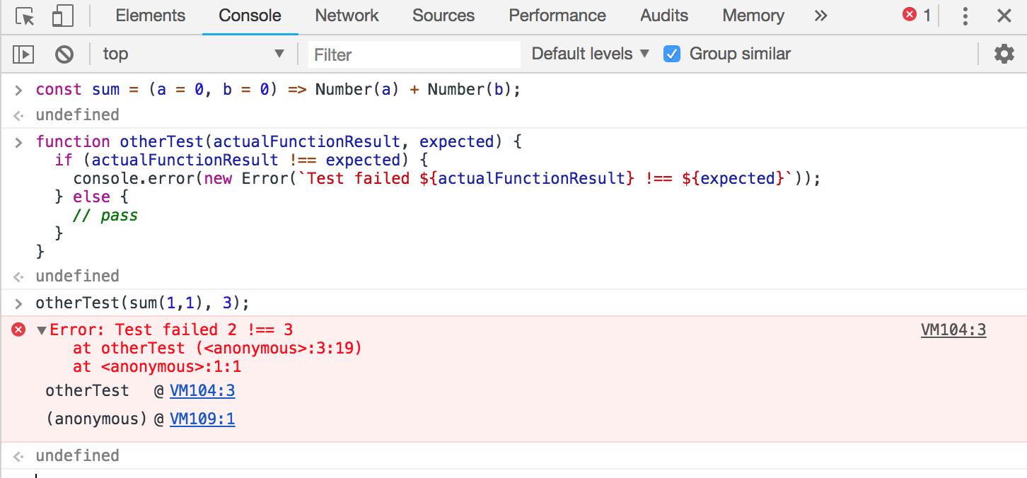 Screenshot of console.error Test failed 2 !== 3.