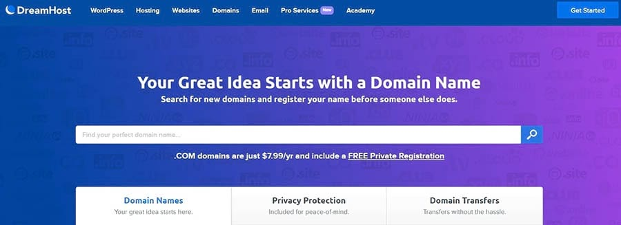 DreamHost's Domain Search Tool