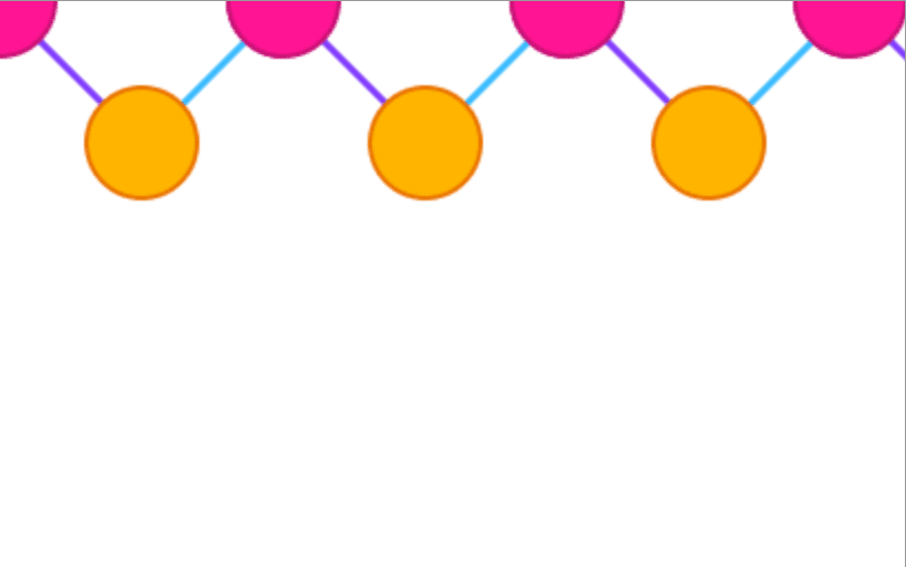 Repeating pattern along the top of the image consisting of orange and pink circles connected by blue and purple lines on a white background.