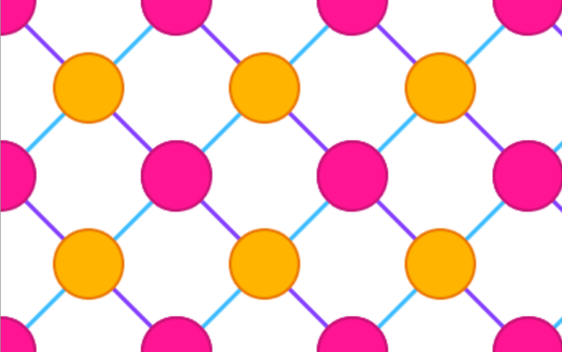 Repeating pattern of orange and pink circles connected by blue and purple lines on a white background.