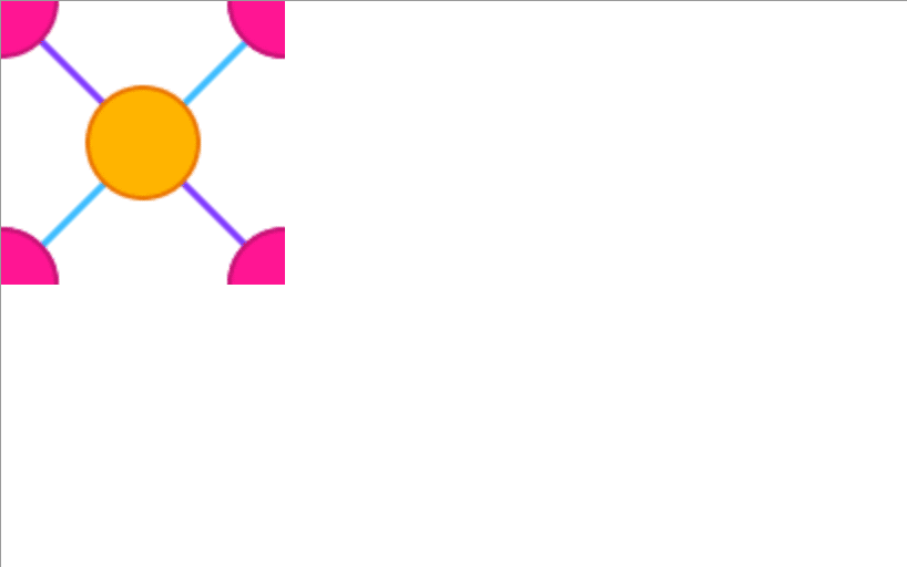 Orange circle connecting to four pink quarter circles via a purple and a blue line in the top left portion of the image.