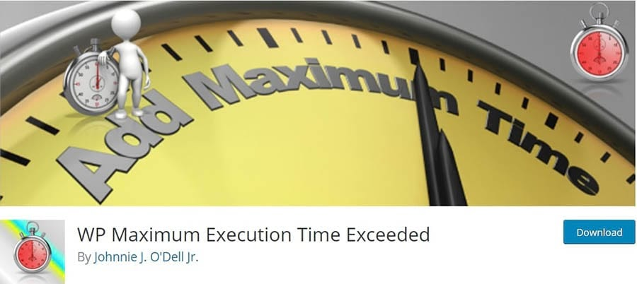The WP Maximum Execution Time Exceeded plugin home page.
