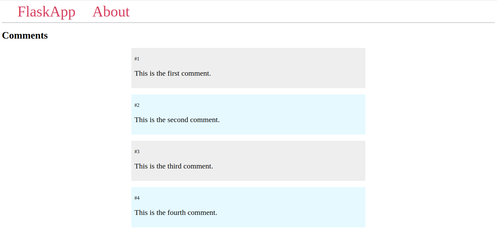 Comments Page With Alternating Background Colors
