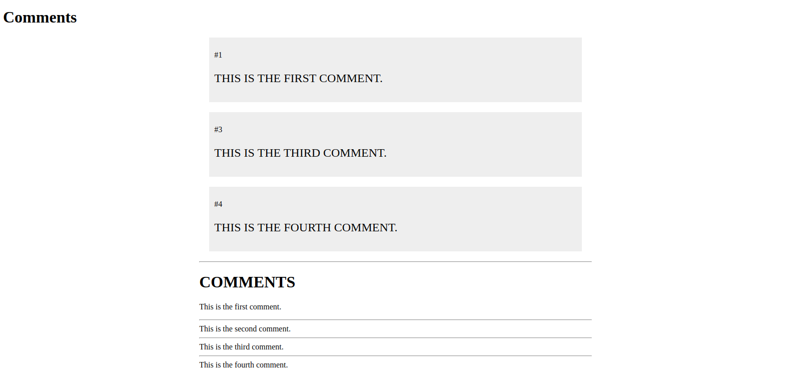 Comments Page With Safe Filter