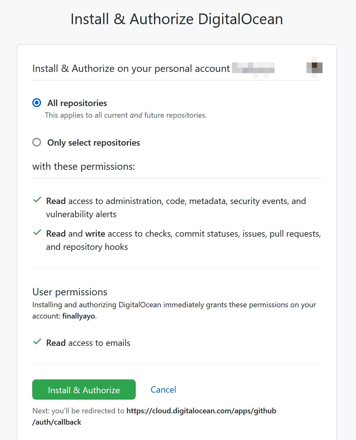 Install and Authorize DigitalOcean on GitHub