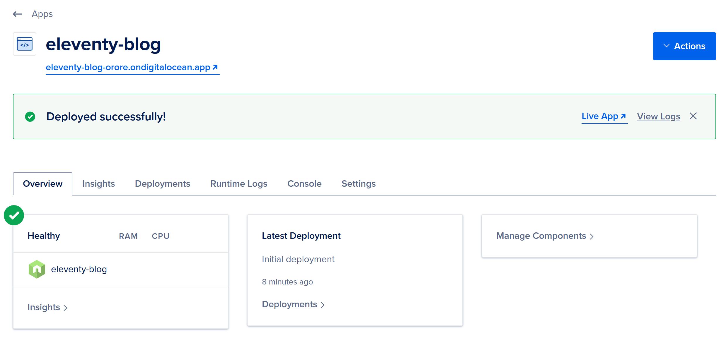 Site deployed to DigitalOcean's App Platform