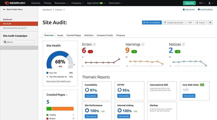 Semrush's Site Audit feature.