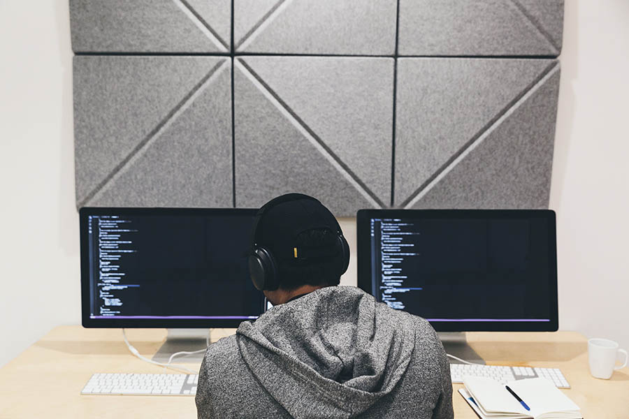 programmer focused on code