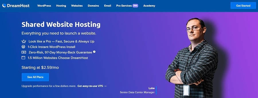 DreamHost's Shared Hosting Page
