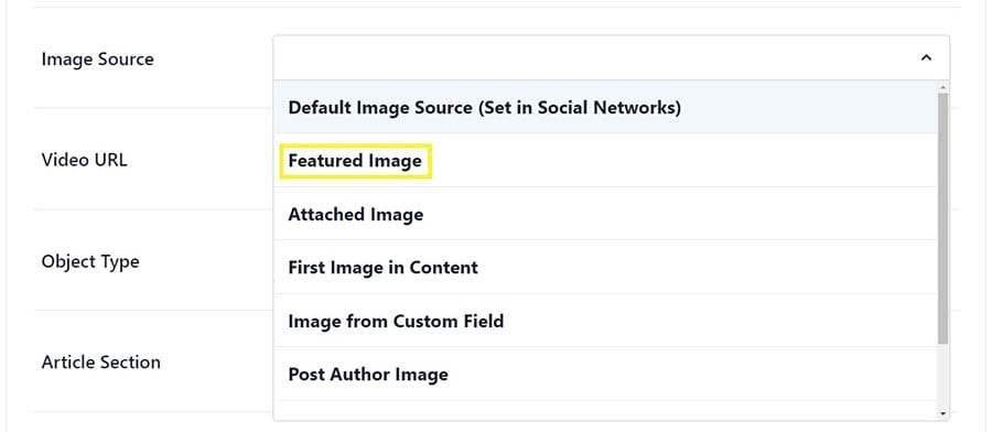 The option to select a featured image in AIOSEO.