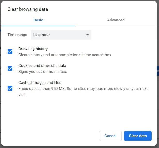 Clearing data in Google Chrome.