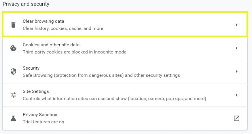 Clear browsing data in Google Chrome.