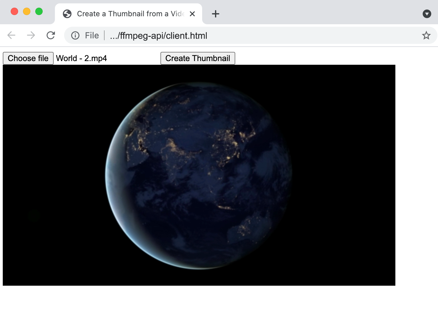 A screenshot of client.html with a thumbnail loaded