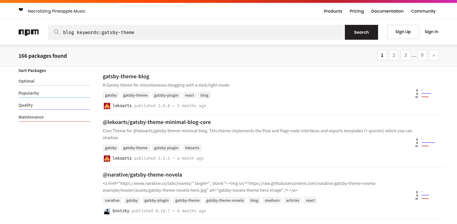 npm results page for the